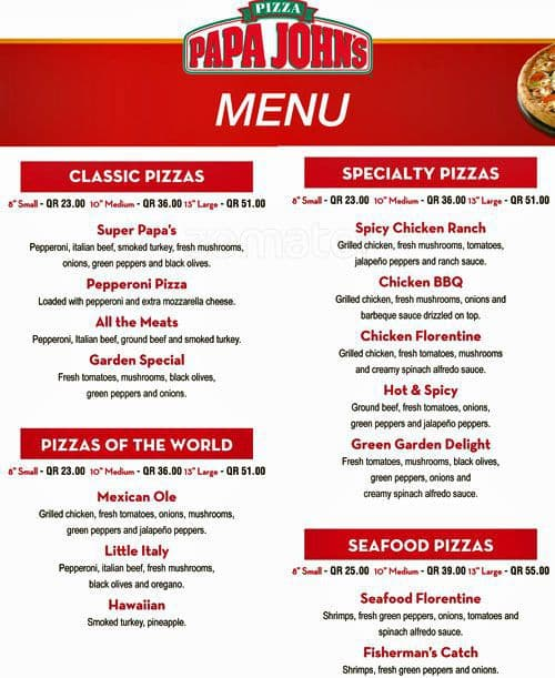 image about Papa Johns Printable Menu titled Papa johns menu rate / Scanna electrical power