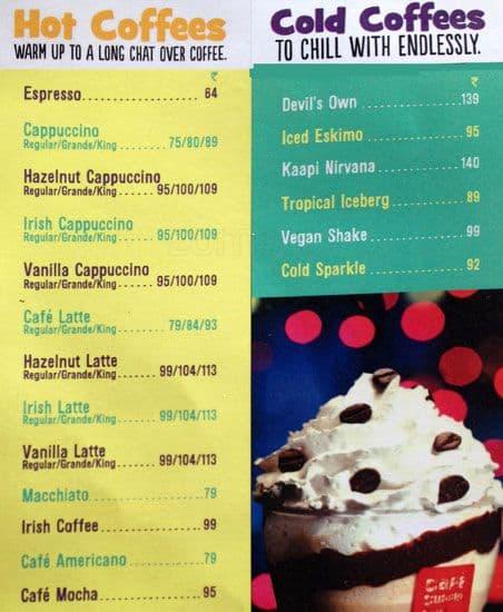 Coffee Day Menu With Prices Cafe Coffee Day Kurji Menu