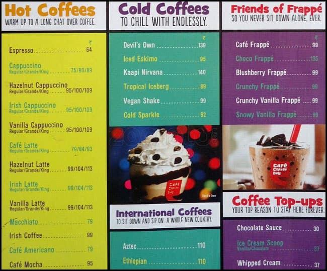 Coffee Day Menu With Prices Coffee Day Vastrapur Menu