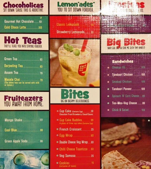 Coffee Day Menu With Prices Cafe Coffee Day Kasba Menu
