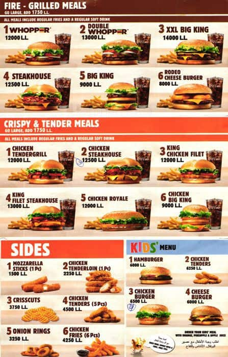 Pictures Of Menu Prices For Burger King