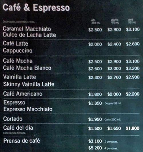 Starbucks Menu Men Para Starbucks Santiago Centro