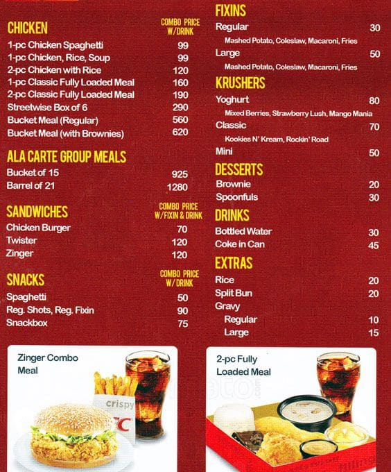 Kfc Menu Menu For Kfc Sm City North Edsa Quezon City
