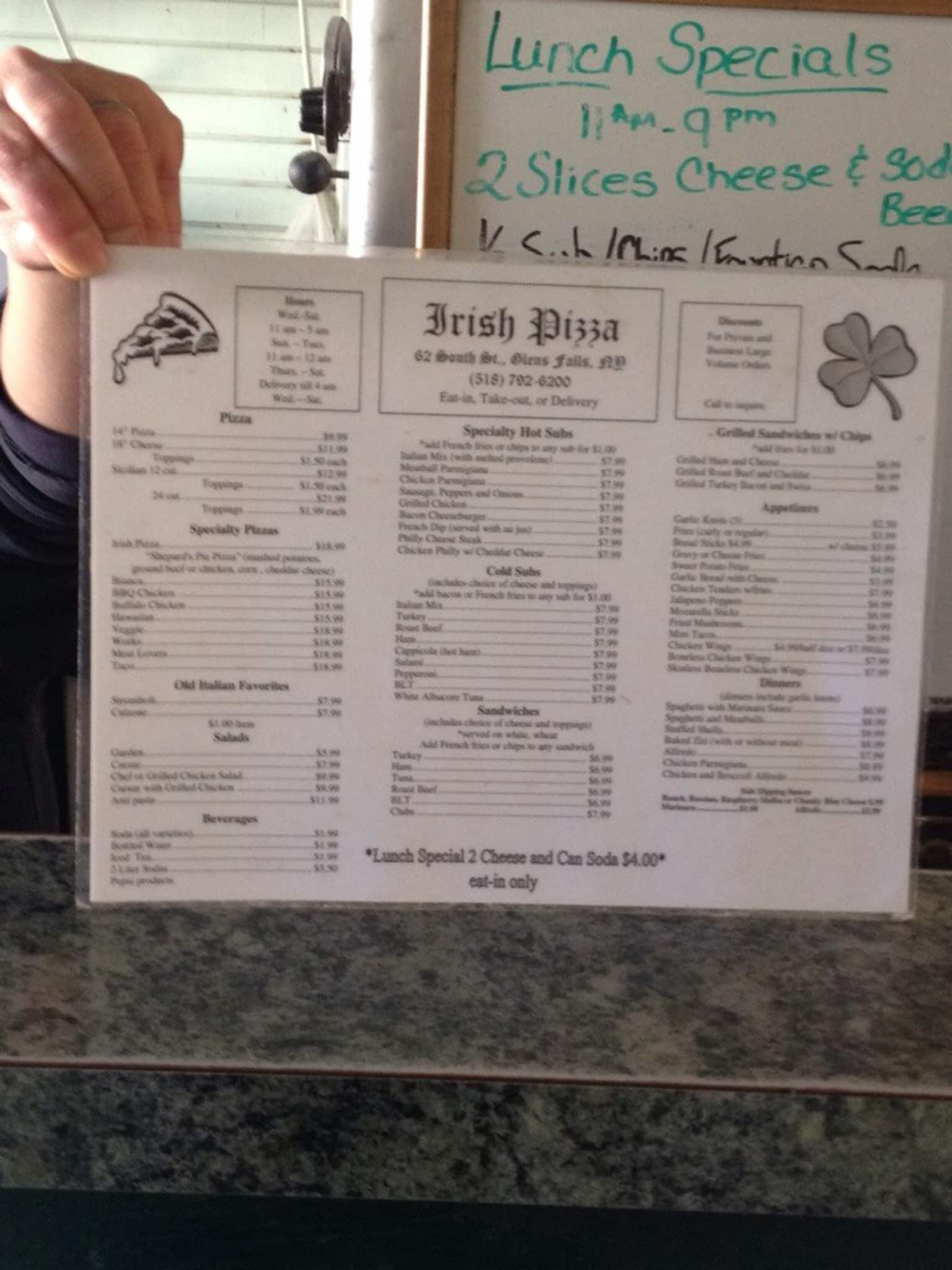 Queensbury (NY) United States  city photos : Irish Pizza, Glens Falls/Queensbury Menu