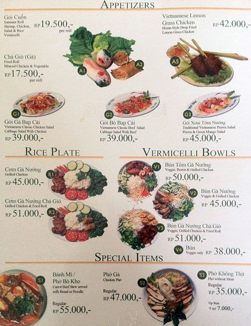 Pho' Hoa Sudirman Menu