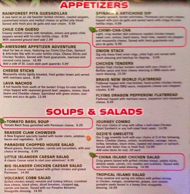 Rainforest Cafe Lunch Menu Prices