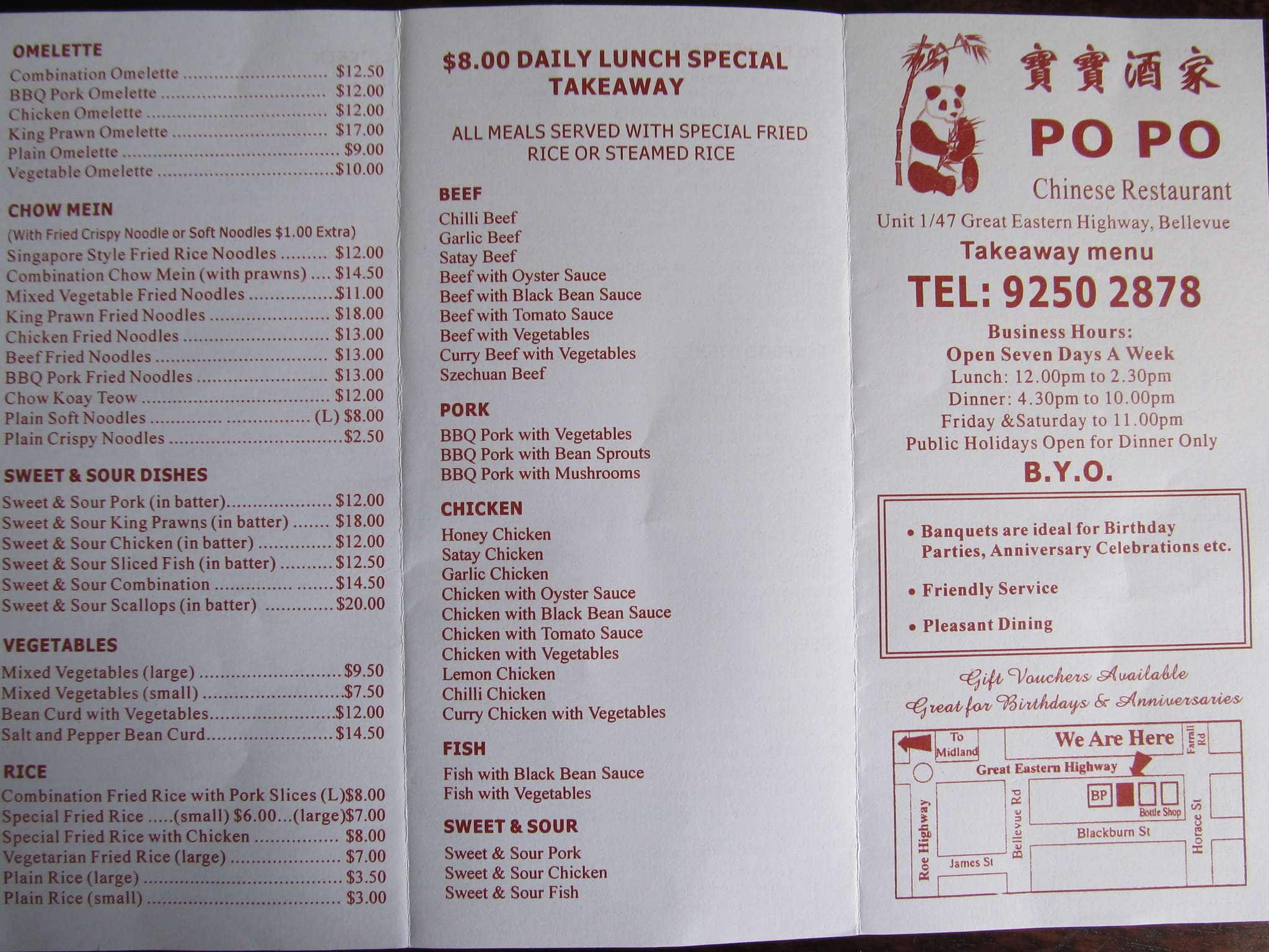 Po po chinese restaurant menu menu for po po chinese for Australian cuisine menu