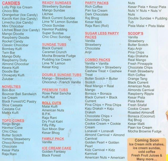 Havmor Ice Cream Menu, Menu for Havmor Ice Cream, Worli ... Vadilal Ice Cream Price List
