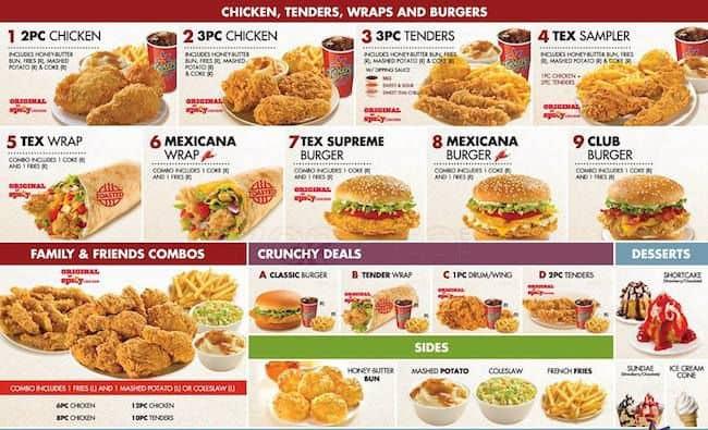 Texas Chicken Menu Price Texas Chicken Manukau Menu