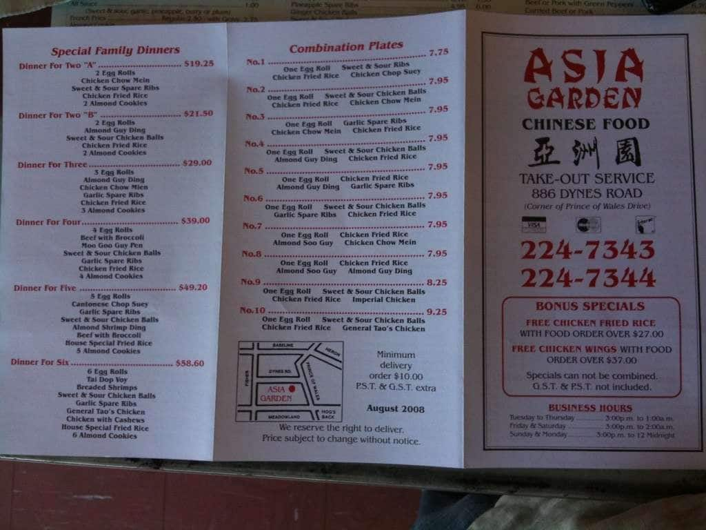 asia garden menu menu for asia garden old nepean ottawa. Black Bedroom Furniture Sets. Home Design Ideas