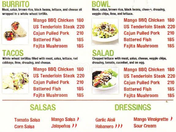 Faburrito menu menu for faburrito salcedo village for Terrace 33 makati menu