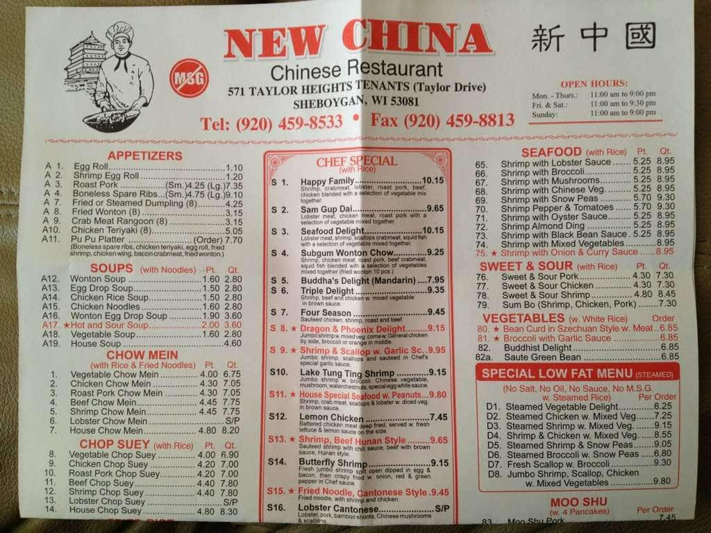 Plymouth Grove Restaurant Menu