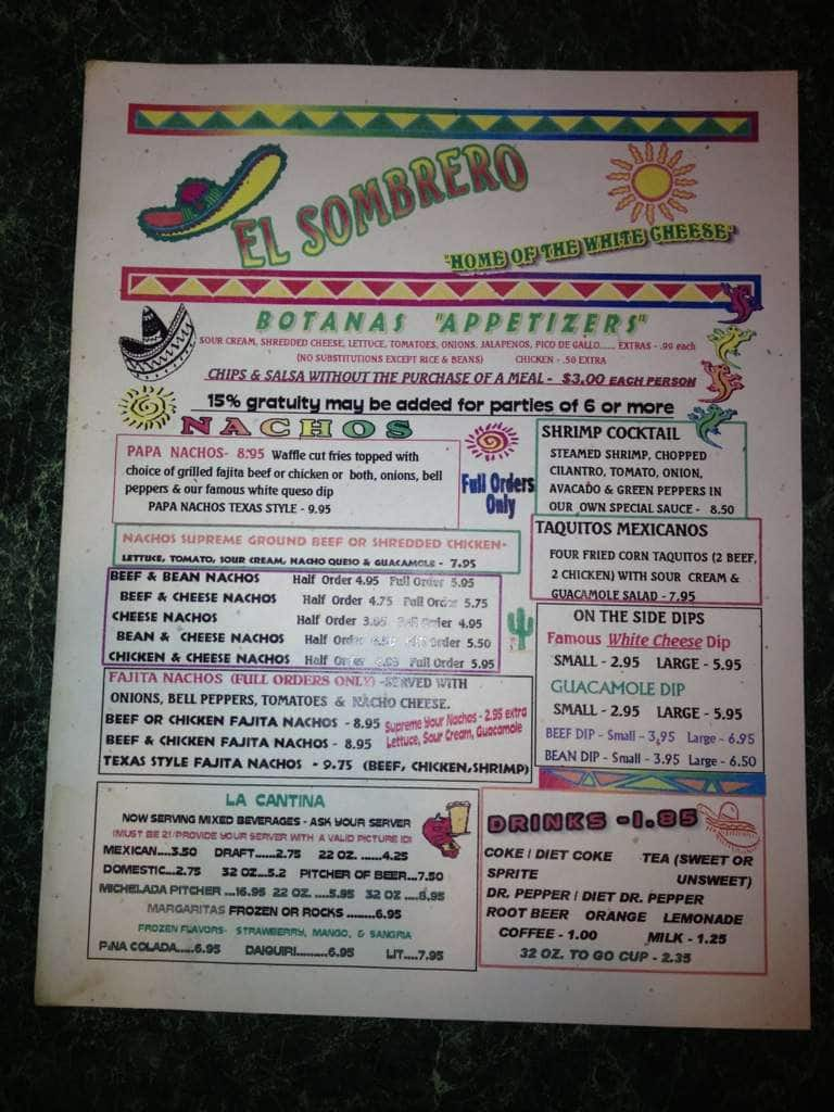 Kilgore (TX) United States  City new picture : ... Menu, Menu for El Sombrero Dos, Kilgore, Longview Urbanspoon/Zomato